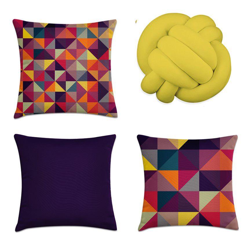 Kit 4 Almofadas Decorativas Cheias Colorido Com Uma De Nó Amarela