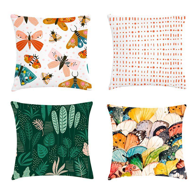 Kit 4 Almofadas Decorativas Cheias Colorido Tropical Com Zíper 40x40cm