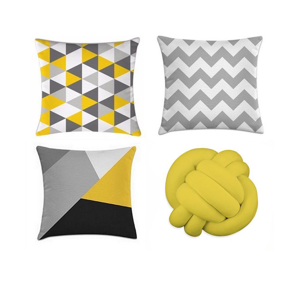 Kit 4 Almofadas Decorativas Cheias Geométrico Com Uma De Nó Amarela