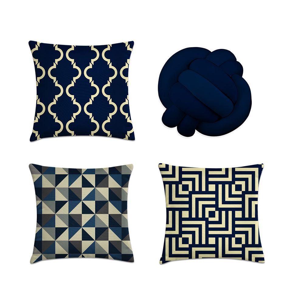 Kit 4 Almofadas Decorativas Cheias Marinho Com Uma De Nó Azul