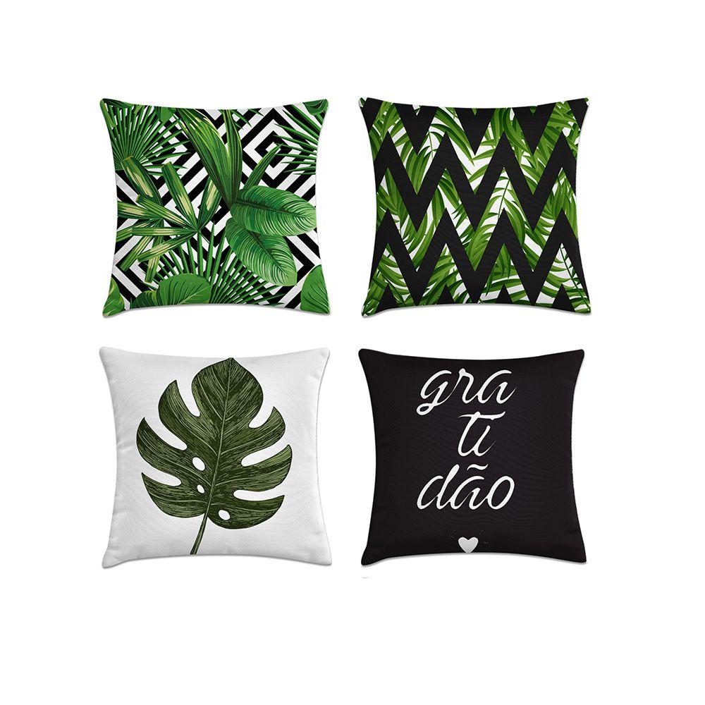 Kit 4 Almofadas Decorativas Cheias Verde e Preto Com Zíper 40x40cm
