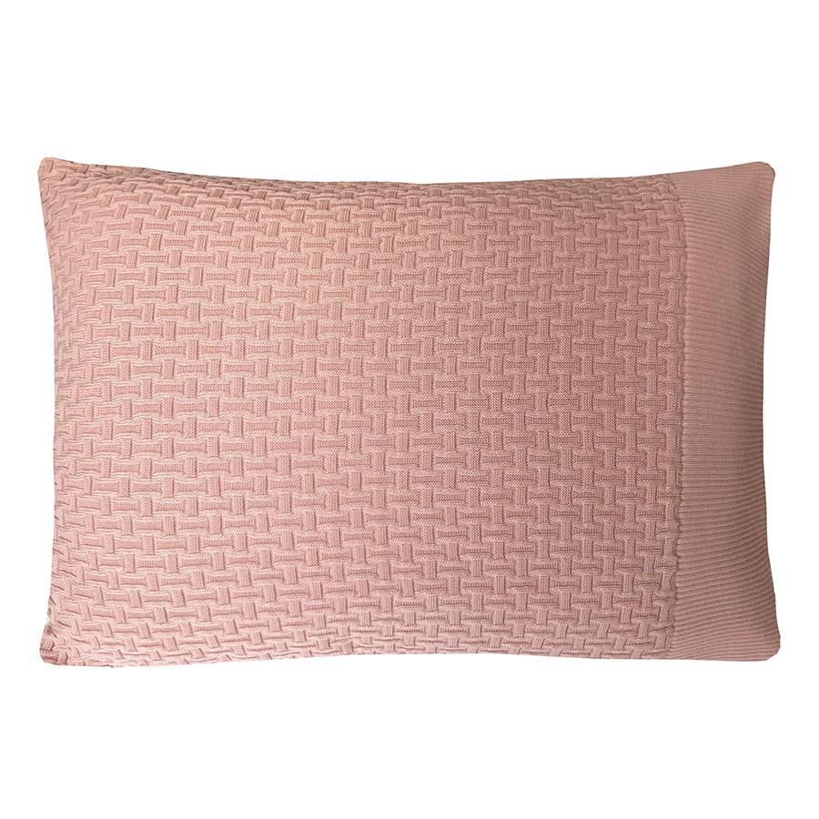 Kit Peseira e Porta-travesseiro de Tricô 3 Unidades Geométrica Rosé