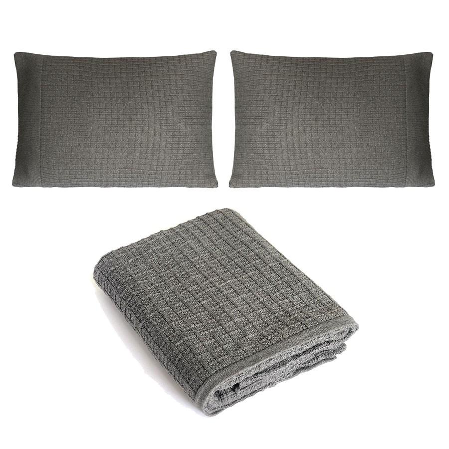 Kit Peseira e Porta-travesseiro de Tricô 3 Unidades Quadriculado Cinza