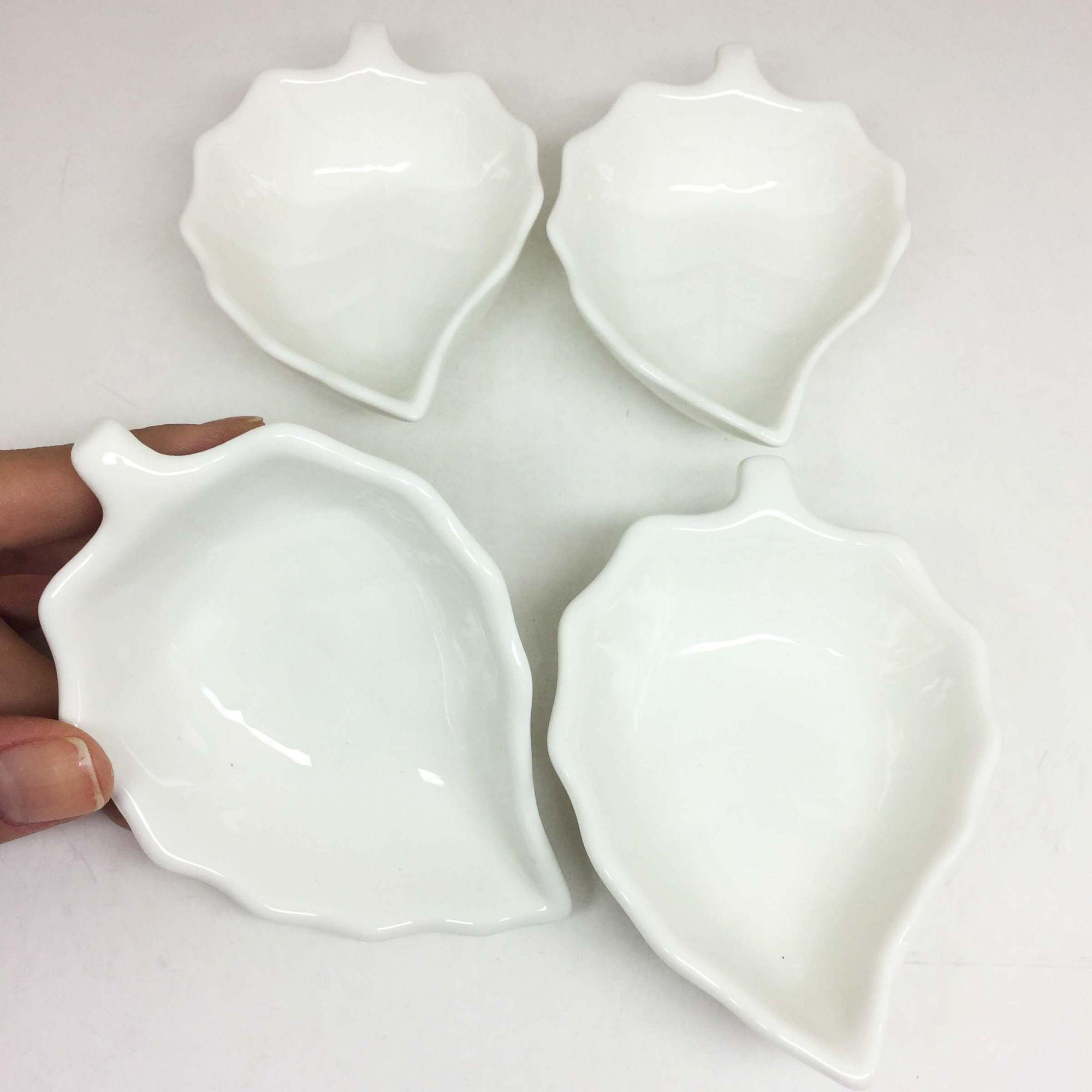 Kit Petisqueira De Porcelana 4 Peças Branca Folha