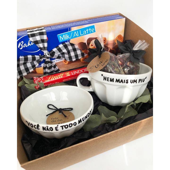 Kit Presente Bowl e Xícara Frase Mães