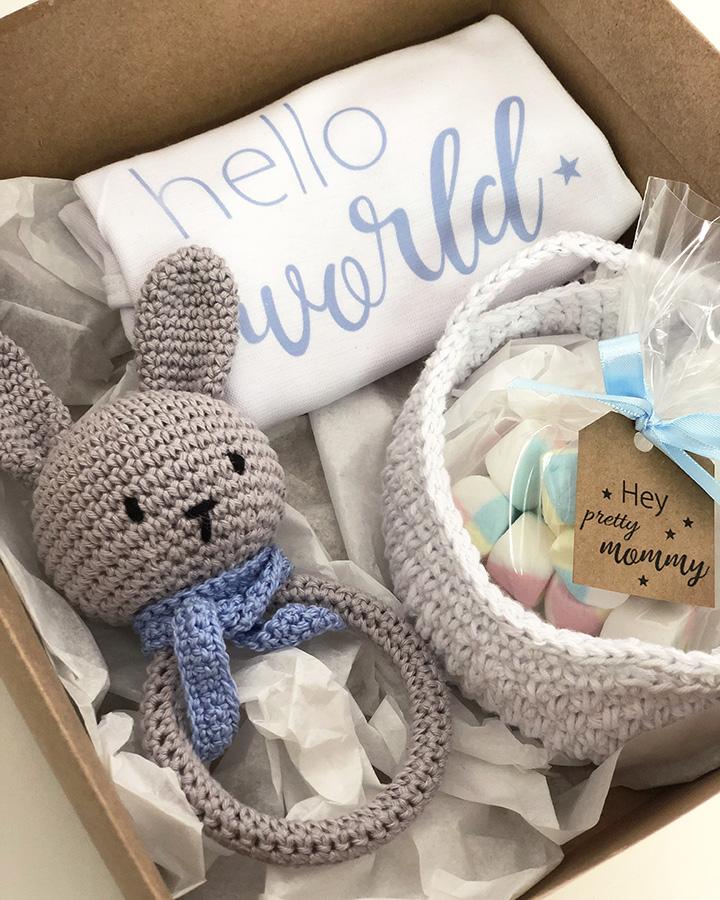 Kit Presente Recém-nascido Amigurumi Chocalho Azul