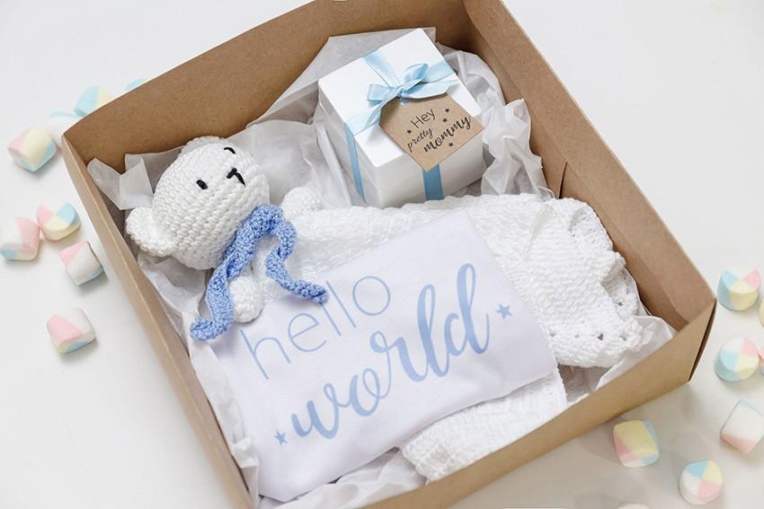 Kit Presente Recém-nascido Amigurumi Naninha Azul
