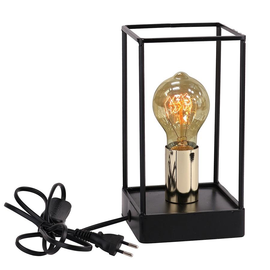 Luminária de Metal Preto e Dourado com Lâmpada de Filamento