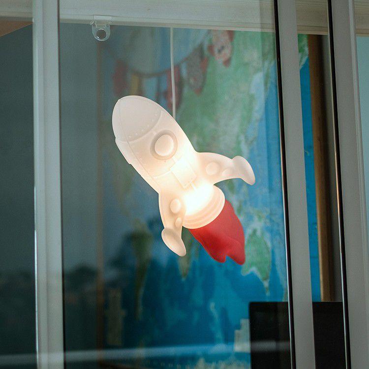 -Luminária - Pendente foguete branco e vermelho