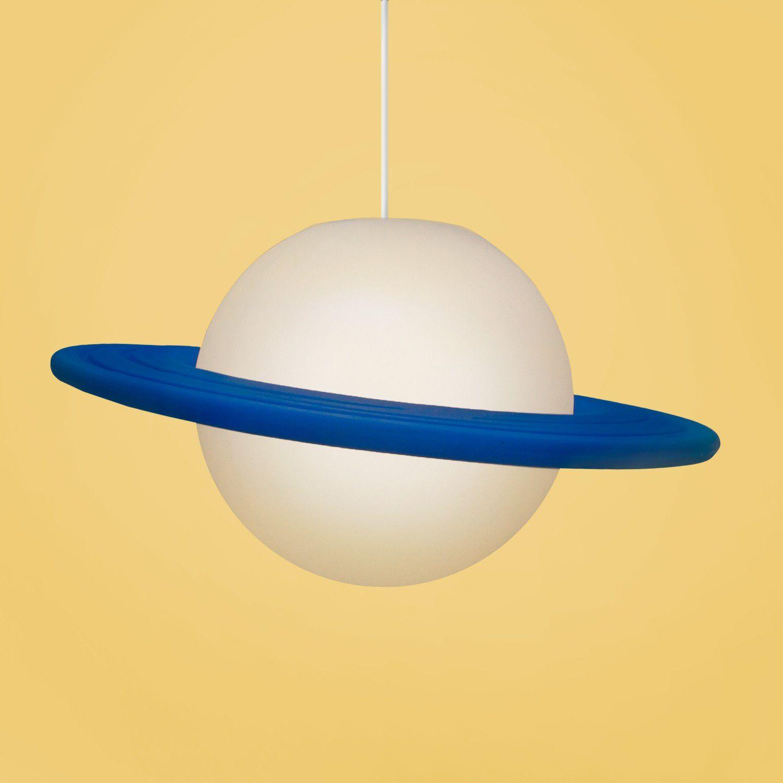 -Luminária - Pendente Saturno branco e azul