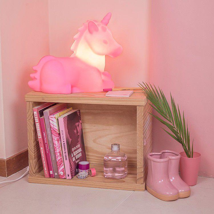 -Luminária - Unicórnio rosa