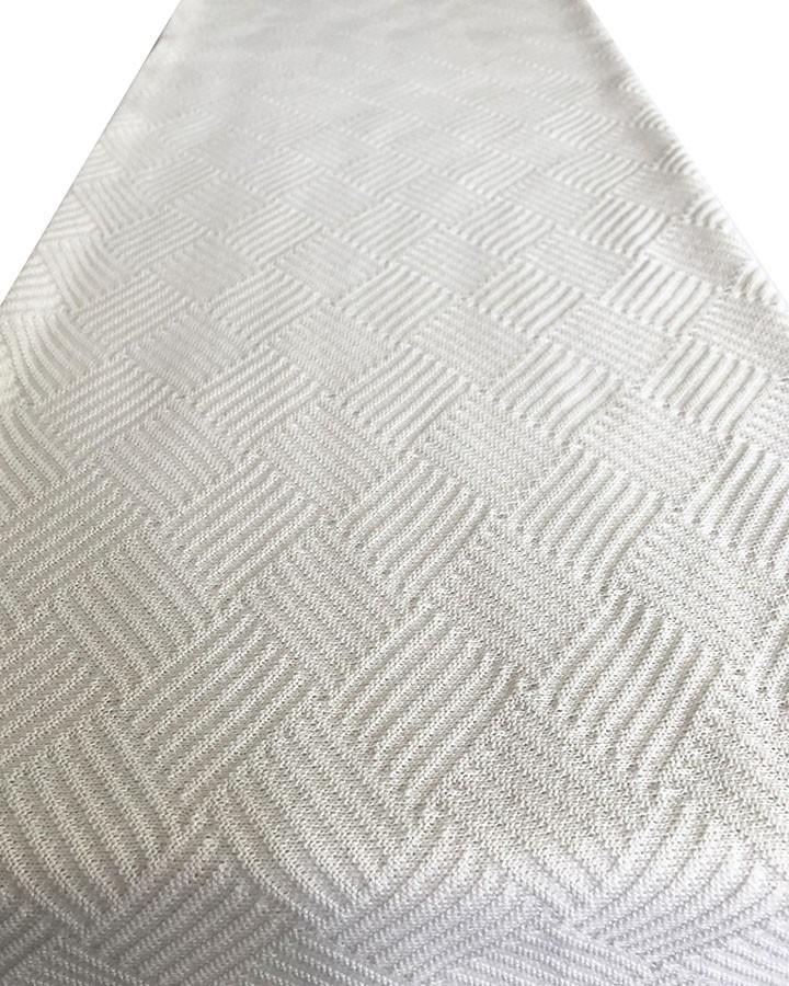 Manta de Tricô Entrelaçada Branca 160x120cm