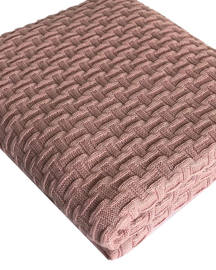 Manta de Tricô Geométrica Rosé 160x120cm