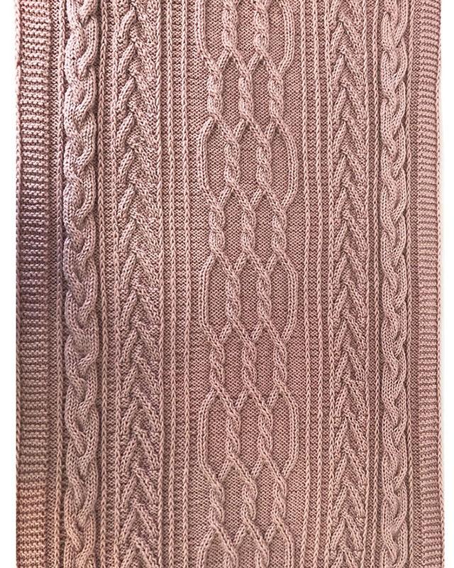 Manta Peseira de Tricô Feita à Mão Trançada Rosé 220x70cm