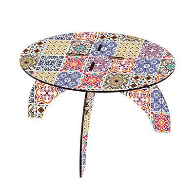 -Mesa de apoio desmontável - Azulejo colorido