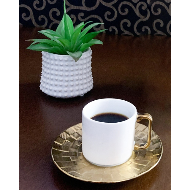 Mini Vaso Decorativo de Cerâmica Spikes Branco