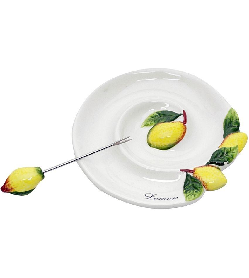 Petisqueira de Cerâmica Limão Siciliano Com Palito