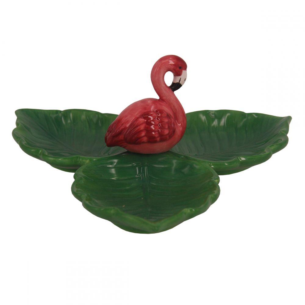 -Petisqueira - Flamingo com folhas rosa e verde