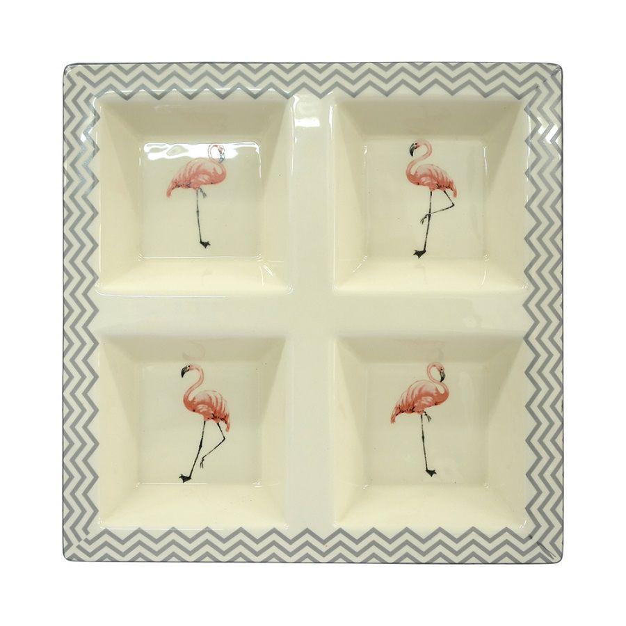 - Petisqueira - Prato flamingos chevron cinza
