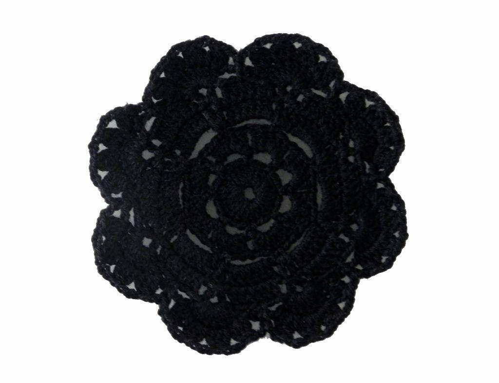 -Porta-copo - Crochê flor preta 6 unidades