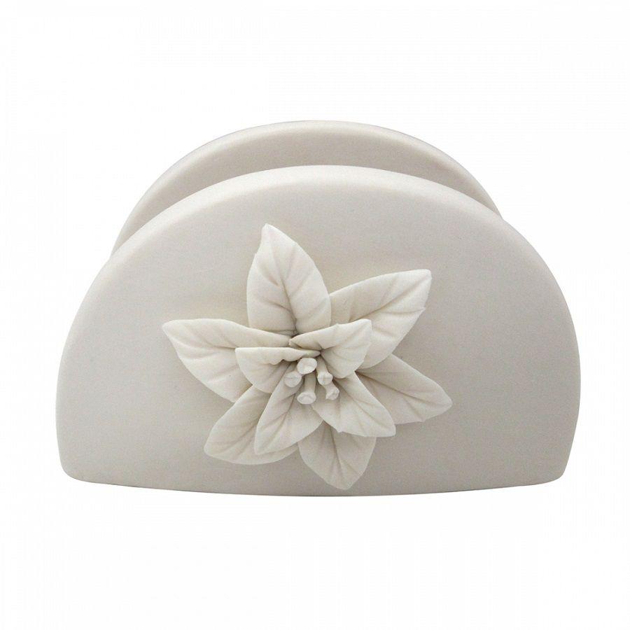 -Porta-guardanapo - Porcelana flor branca