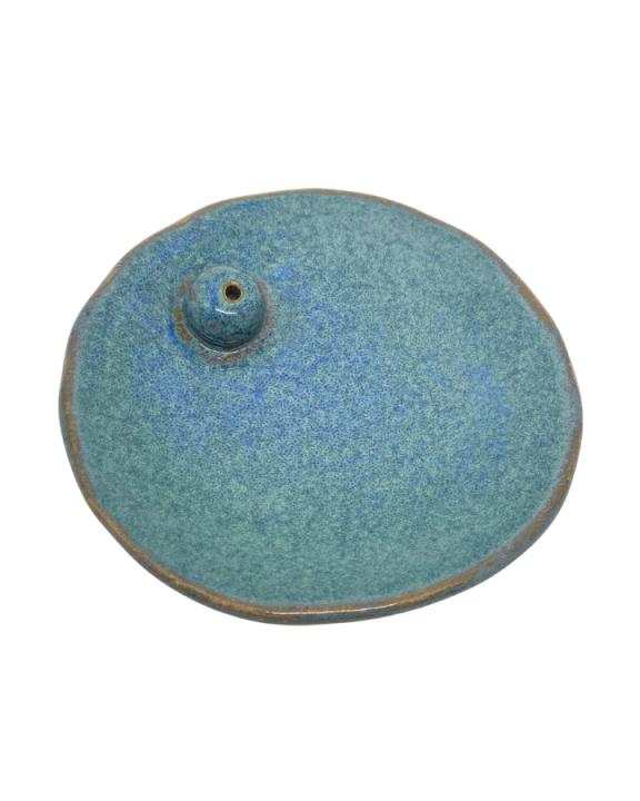 Porta-incenso de Cerâmica Feito à Mão Azul