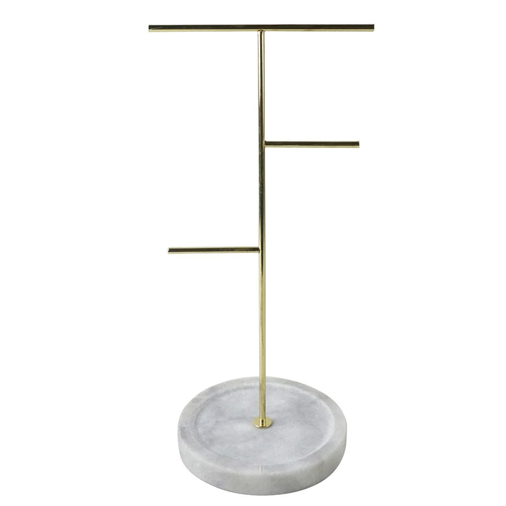 Porta-jóias de Metal Dourado com Pé em Mármore Branco