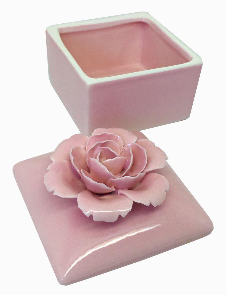-Porta-jóias - Flor rosa