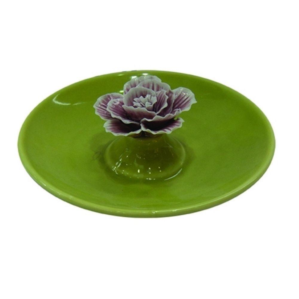 -Porta-jóias - Prato porcelana flor verde e rosa