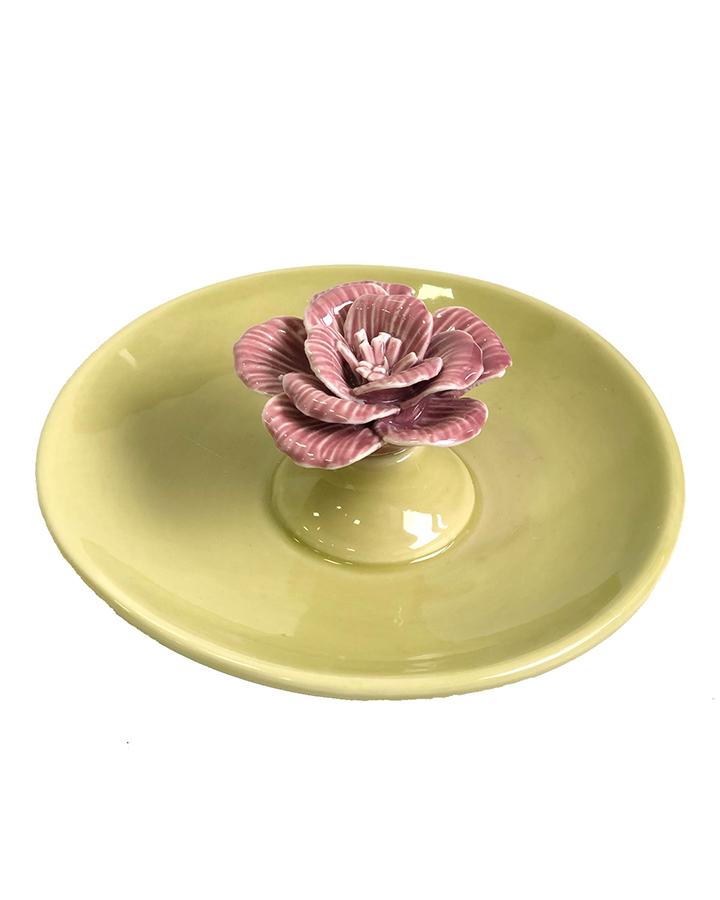 Porta-joias Prato Porcelana Verde Com Flor Rosa
