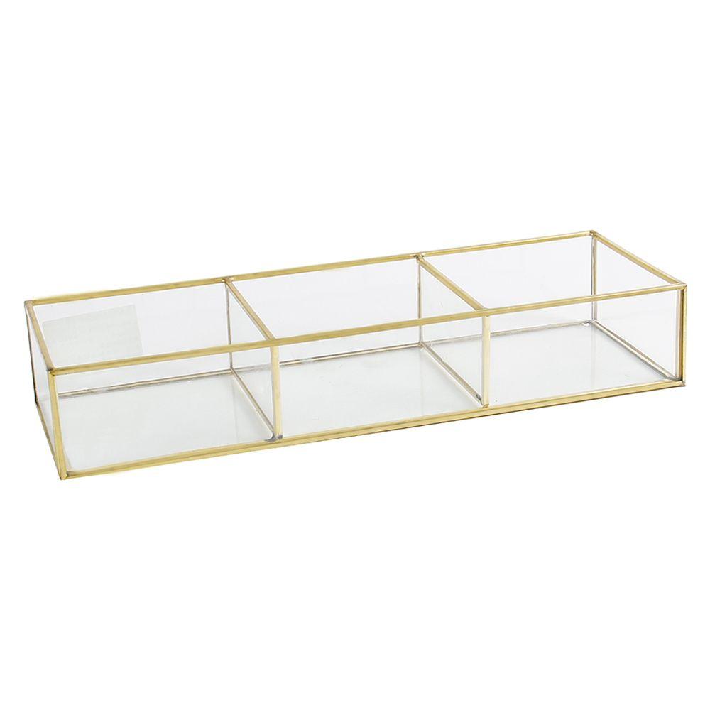 Porta-jóias de Vidro com Metal Dourado Pequeno