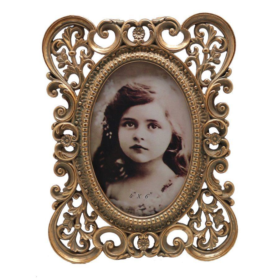 -Porta-retrato - Barroco dourado 10x15cm