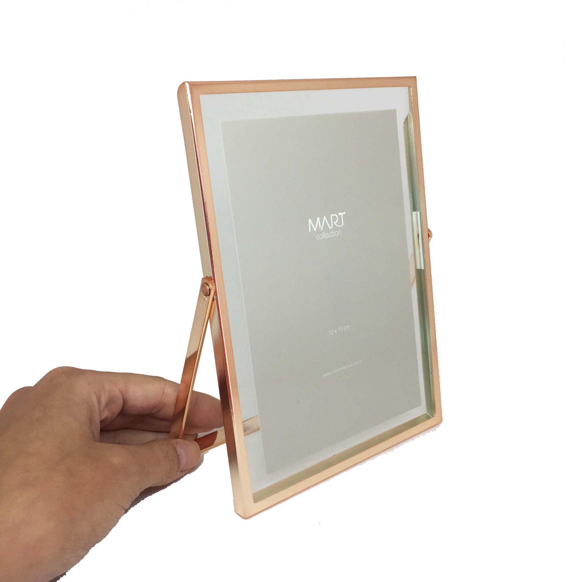 Porta-retrato de Vidro e Metal Rose Gold 10x15cm