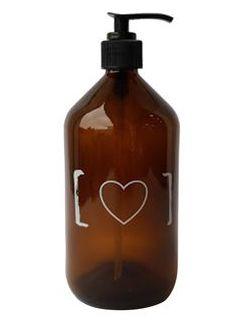 Porta-Sabonete Líquido de Vidro Âmbar Coração