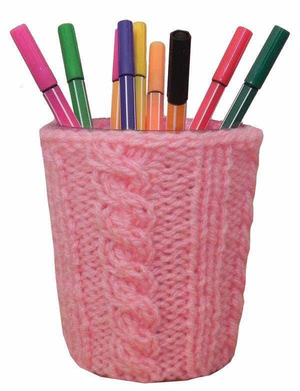 -Porta-treco - Tricô rosa médio