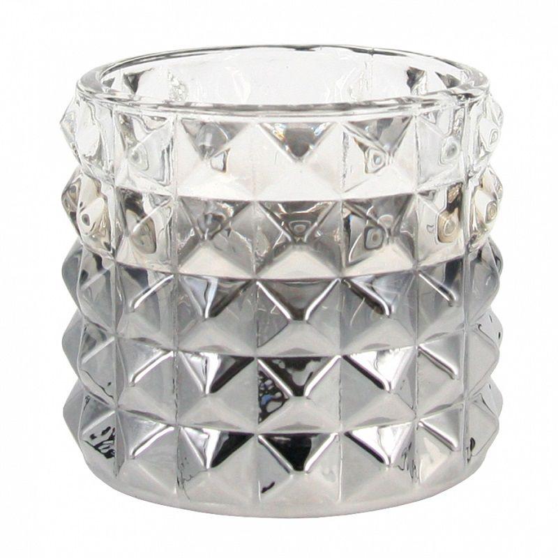- Porta-vela - Vidro com prata
