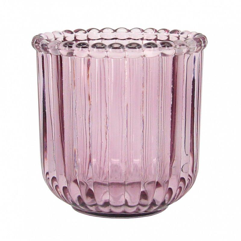 - Porta-vela - Vidro rosa