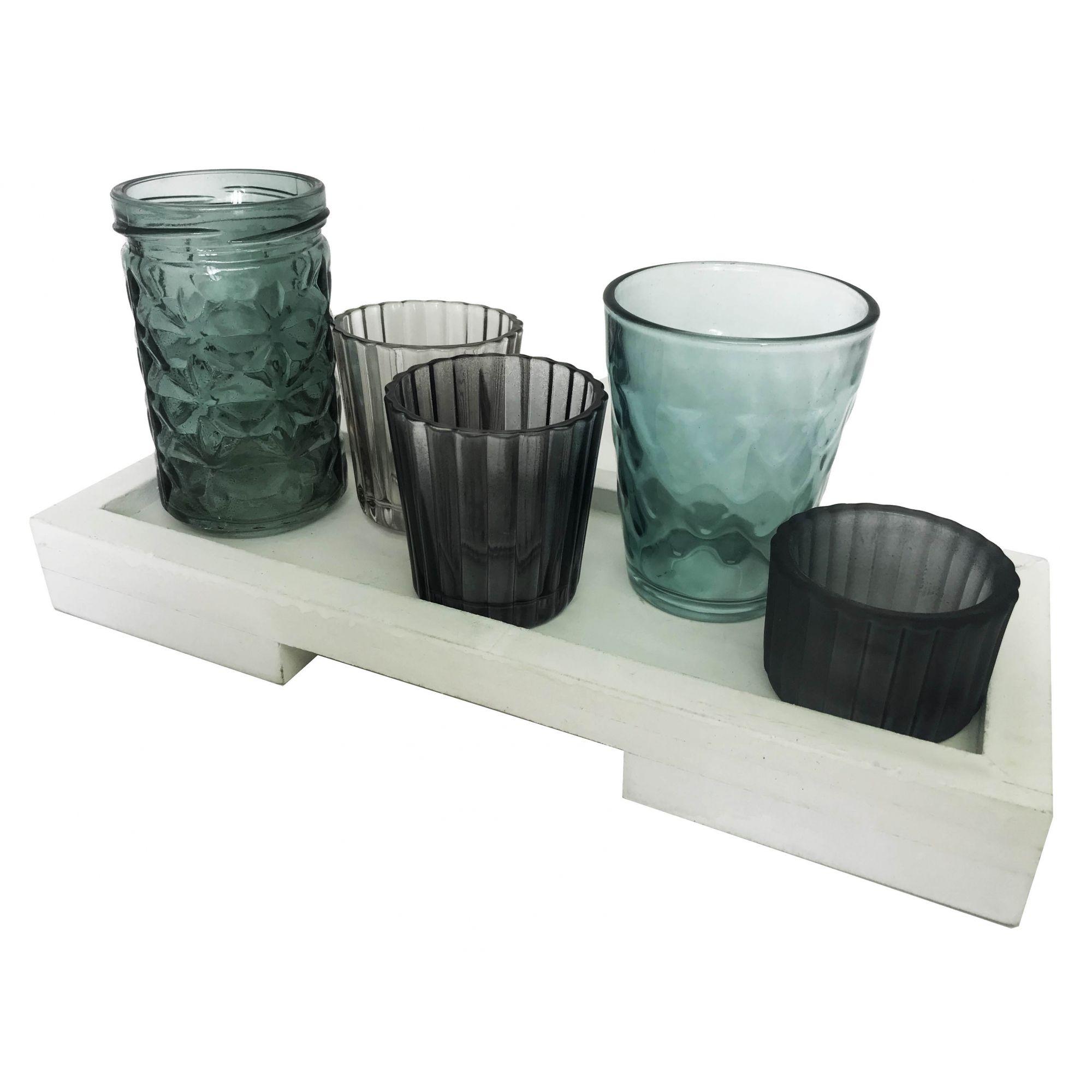 -  Porta-velas - Conjunto com base em madeira branca