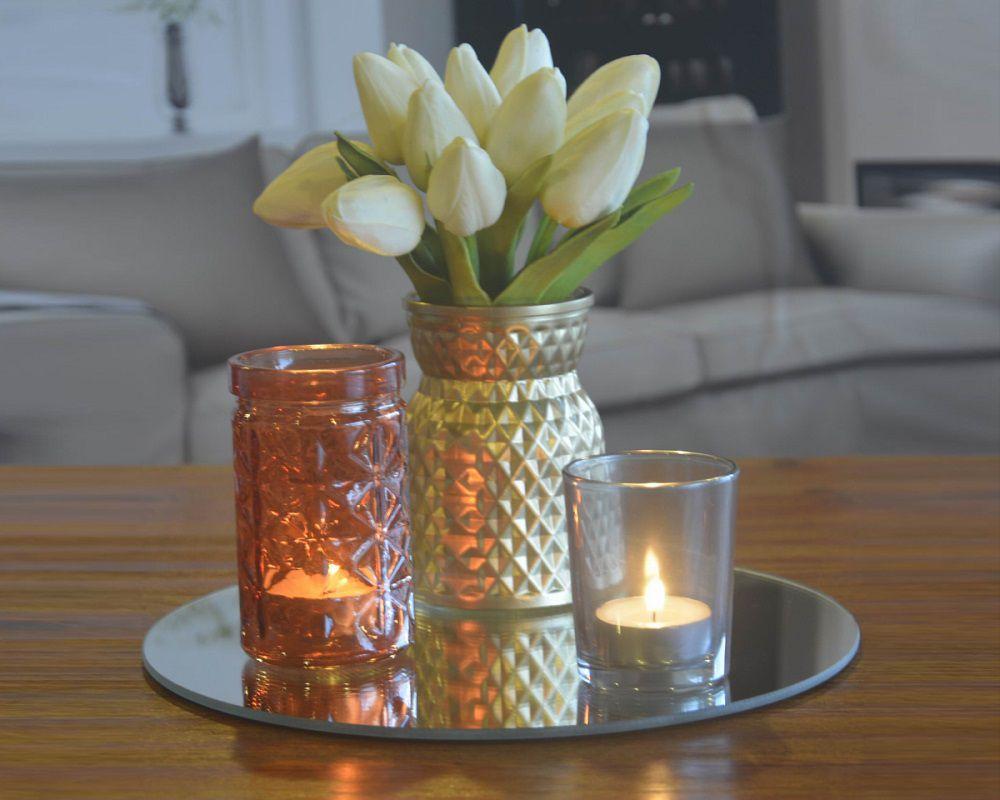 -Porta-velas - Conjunto com base redonda em espelho