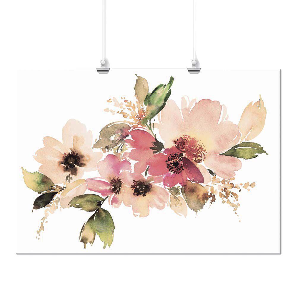 Pôster - Aquarela Arranjo Floral Rosa