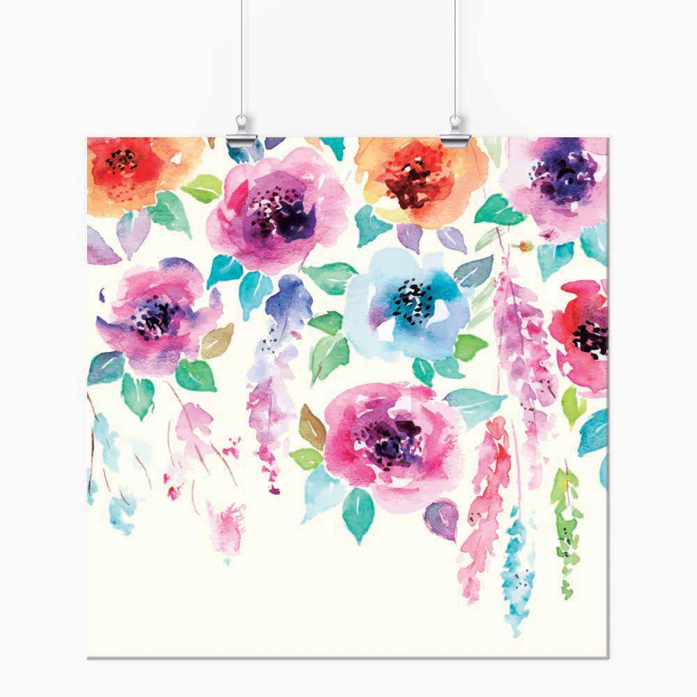 Pôster - Aquarela chuva de flor