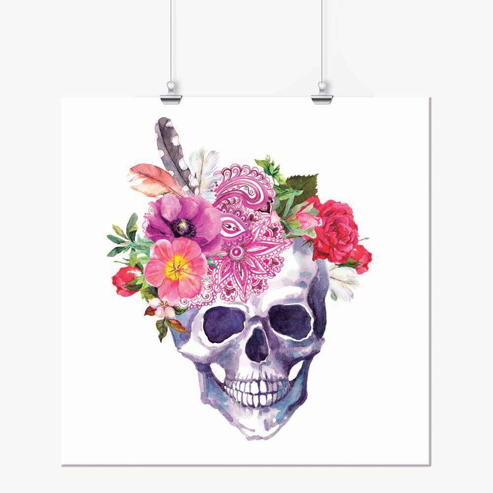 Pôster - Caveira Chapéu de Flores