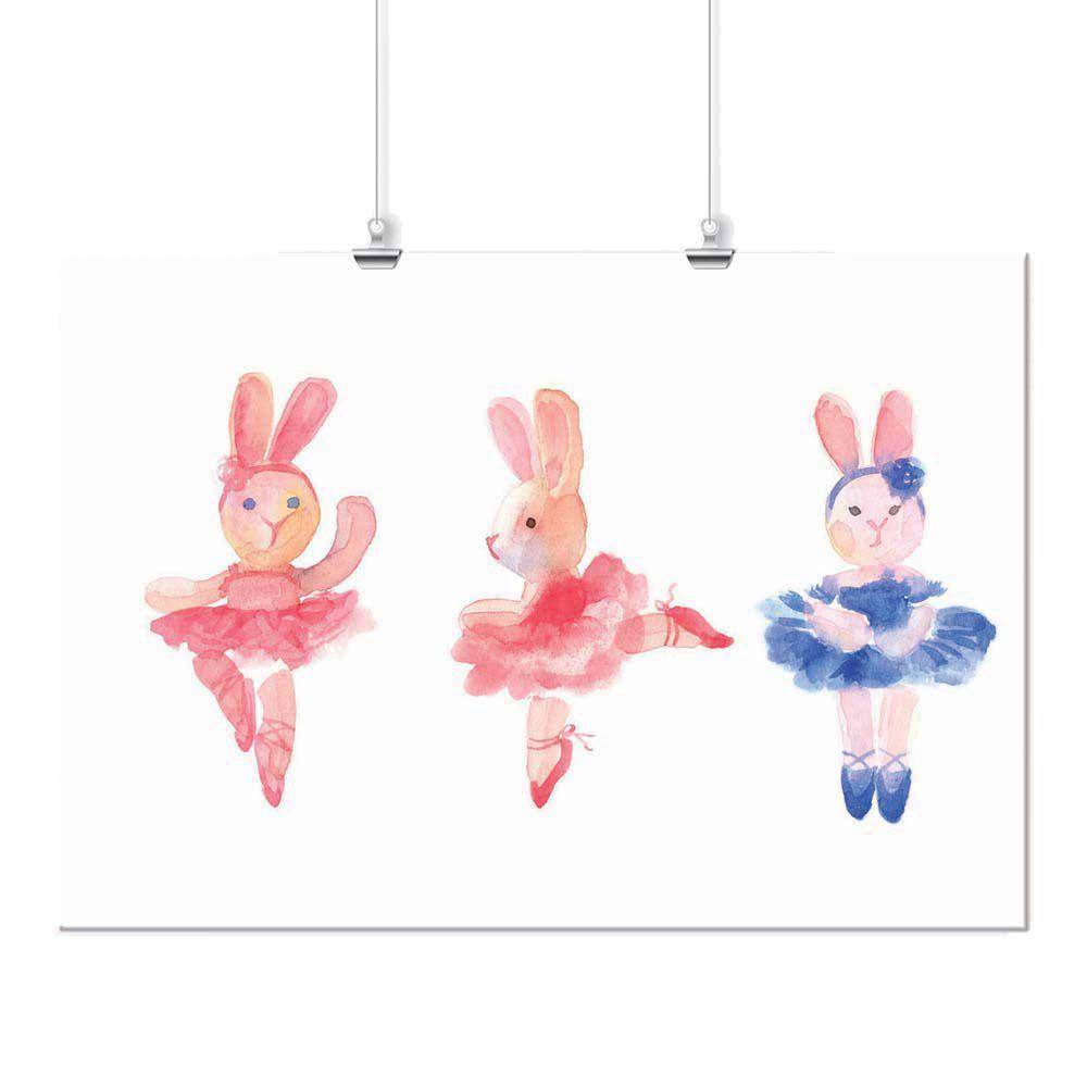 Pôster -  Coelhinhas Bailarinas Rosa e Azul