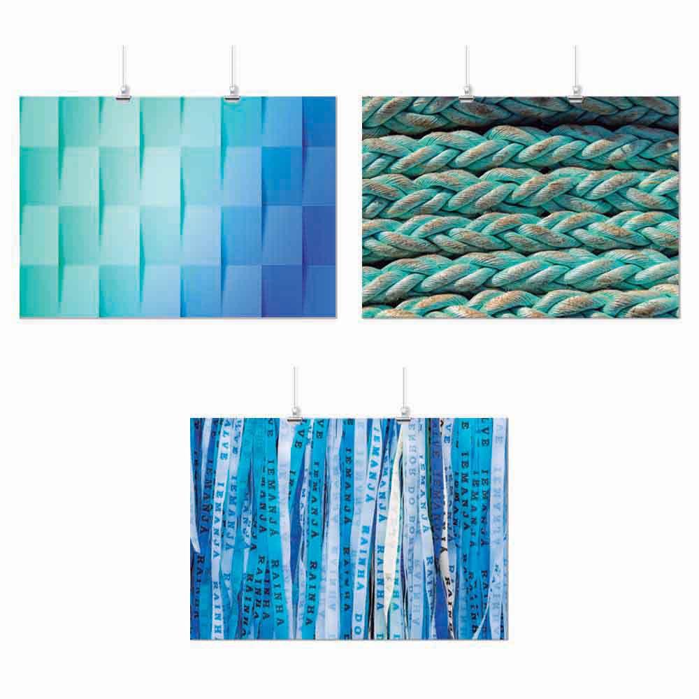 Pôster Conjunto Azul Elementos 3 Unidades
