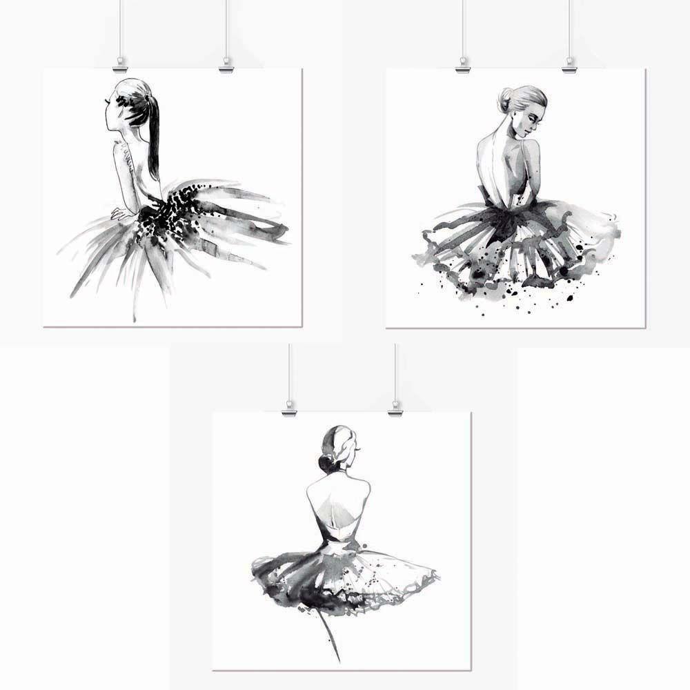 Pôster - Conjunto Bailarina Preta e Branca 3 Unidades