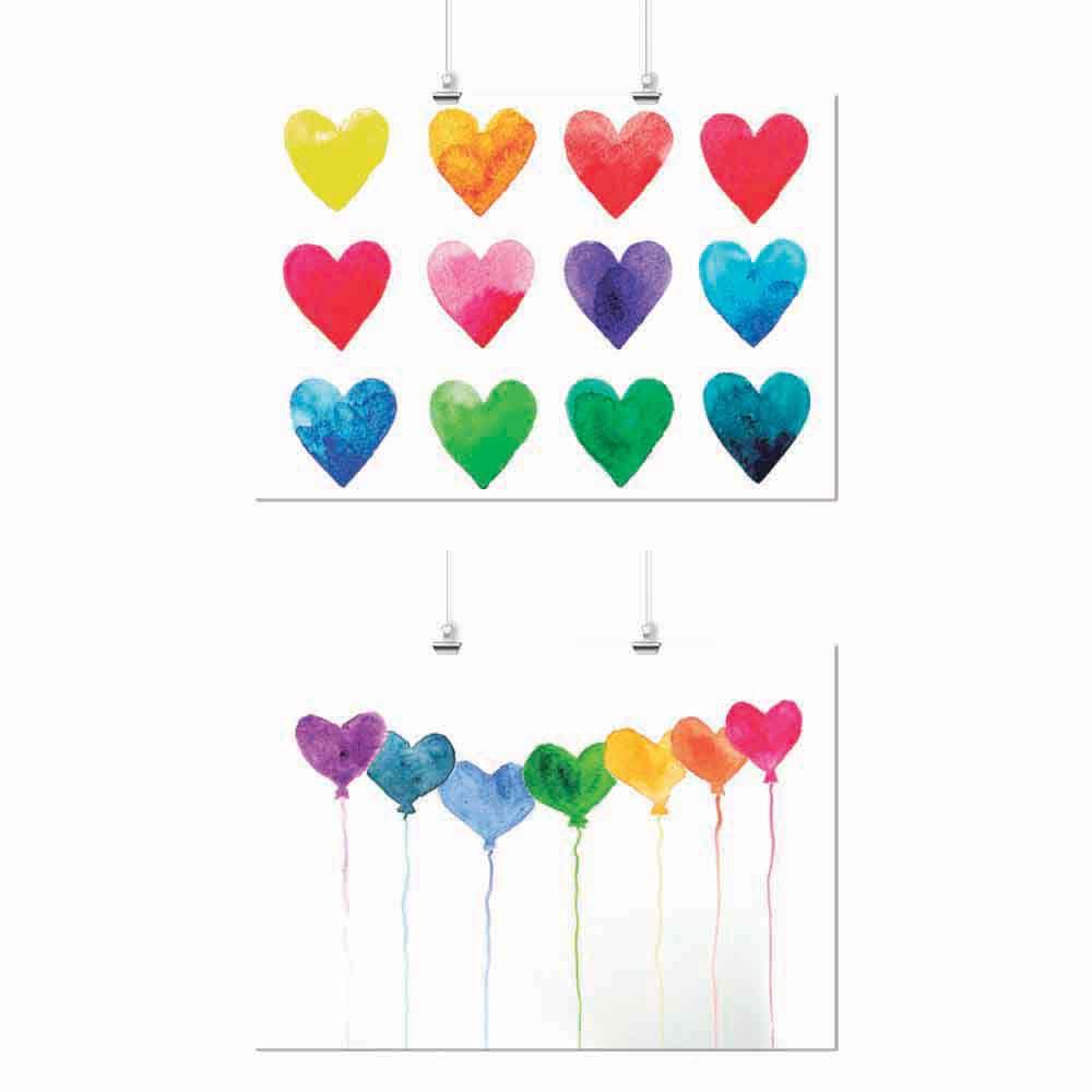 Pôster Conjunto Color Corações 2 Unidades