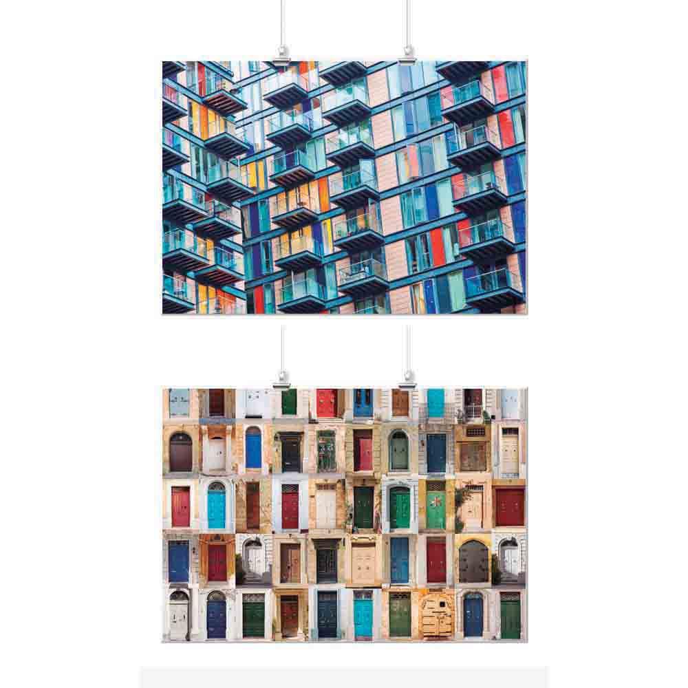 Pôster Conjunto Colorido Prédio e Portas 2 Unidades