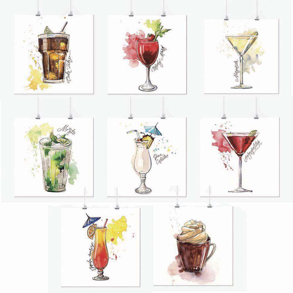 Pôster Conjunto Drinks Aquarela 8 Unidades