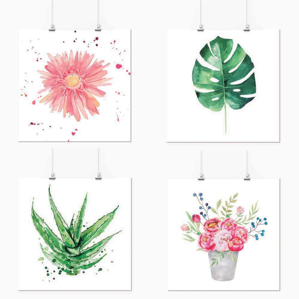 Pôster Conjunto Flores e Suculentas 4 Unidades