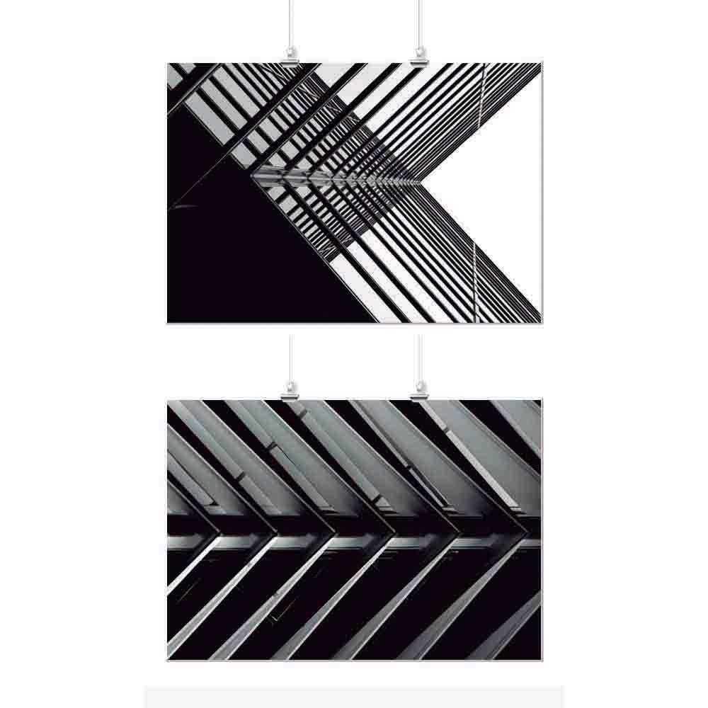 Pôster Conjunto Preto e Branco Geométrico 2 Unidades